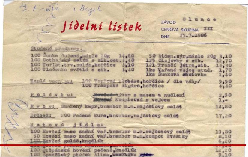 Jídelní lístek z roku 1986